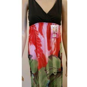Dresses & Skirts - Womens Black Straps Red Green Floral Dress